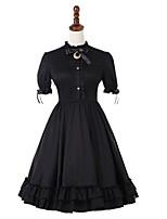 economico -Abito casual Lolita Vintage Gotico Per donna Vestiti Cosplay Nero A palloncino Manica corta Midi Costumi Halloween