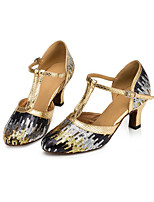 Недорогие -Жен. Обувь для модерна Синтетика На каблуках Толстая каблук Танцевальная обувь Золотой