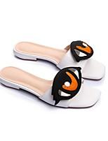 Недорогие -Жен. Обувь Наппа Leather Весна лето Удобная обувь Тапочки и Шлепанцы На плоской подошве Белый