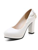 Недорогие -Жен. Комфортная обувь Полиуретан Весна / Осень Обувь на каблуках На толстом каблуке Белый / Черный / Лиловый