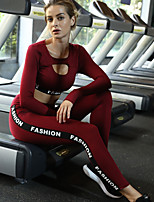 cheap -Women's Cut Out 2pcs Tracksuit / Yoga Suit - Black, Burgundy Sports Letter Spandex High Rise Crop Top / Skinny Pants Yoga, Running, Fitness Long Sleeve Activewear Lightweight, Anatomic Design
