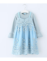 Недорогие -Дети Девочки Однотонный Длинный рукав Платье
