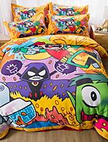 preiswerte -Bettbezug-Sets Cartoon Design 100% Baumwolle Reaktivdruck 4 Stück