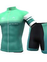 Недорогие -INBIKE Муж. С короткими рукавами Велокофты и велошорты - Цвет зеленой мяты Велоспорт Наборы одежды, Быстровысыхающий, Дышащий Спандекс Сплошной цвет / Италия Импортные чернила