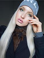 billiga -Syntetiska snörning framifrån Rak Middle Part Syntetiskt hår 22-26 tum Värmetåligt / Dam / Mittbena Vit Peruk Dam Lång Spetsfront Platina Blont / Till färgade kvinnor