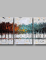 cheap -Oil Painting Hand Painted - Abstract / Floral / Botanical Comtemporary Canvas / Three Panels