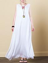 billige -kvinders linned en linje kjole maxi