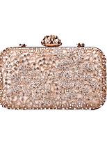 cheap -Women's Bags PU(Polyurethane) / Alloy Evening Bag Crystals / Glitter Floral Print White / Black / Blushing Pink