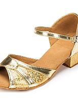 Недорогие -Жен. Обувь для латины Полиуретан На каблуках Толстая каблук Танцевальная обувь Золотой / Серебряный