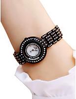 Недорогие -Жен. Наручные часы Секундомер / Защита от влаги / Светящийся сплав Группа Мода / Элегантный стиль Черный / Белый