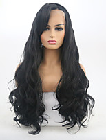 cheap -Synthetic Lace Front Wig Wavy Side Part Synthetic Hair 24-26 inch Adjustable / Heat Resistant Black Wig Women's Long Lace Front Natural Black / Yes