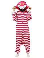 Недорогие -Взрослые Пижамы кигуруми Кошка Цельные пижамы Флис Белый + розовый Косплей Для Муж. и жен. Нижнее и ночное белье животных Мультфильм День всех святых Фестиваль / праздник