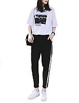 baratos -Mulheres Sexy Moletom - Branco Esportes Estampado Camiseta / Calças Ioga, Corrida, Fitness Roupas Esportivas Confortável Micro-Elástica