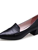 Недорогие -Жен. Комфортная обувь Наппа Leather Лето Обувь на каблуках На толстом каблуке Черный / Красный