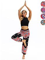 cheap -Women's Yoga Pants Harem Smocked Waist Print Black Red Dark Blue Light Blue Dance Fitness Gym Workout Bloomers Sport Activewear Lightweight Breathable Quick Dry Soft Stretchy Loose