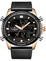 cheap -NAVIFORCE Men's Sport Watch Military Watch Japanese Japanese Quartz 30 m Water Resistant / Water Proof Alarm Calendar / date / day Genuine Leather Band Analog Digital Luxury Fashion Black / Brown -