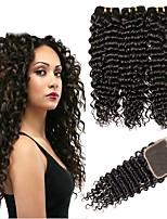billiga -3 paket med stängning Mongoliskt hår Stora vågor Obehandlat / Äkta hår Human Hår vävar / Favör för Tebjudningar / Kostymaccessoarer 8-20 tum Naurlig färg Hårförlängning av äkta hår 4x4 Stängning Mjuk