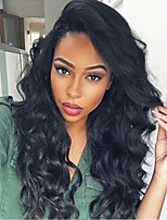 cheap -Remy Human Hair Lace Front Wig Brazilian Hair Body Wave Wig Layered Haircut 130% With Baby Hair / Natural Hairline Black Women's Long Human Hair Lace Wig