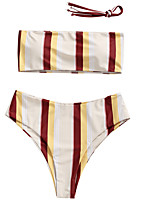 cheap -Women's Basic Strapless Bandeau Tankini - Striped Backless Thong