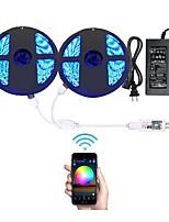 abordables -KWB 2x5M Ensemble de Luminaires / Barrette d'Eclairage RVB / Lumières intelligentes 600 LED SMD5050 1 adaptateur 12V 6A RVB Découpable / Décorative / Connectible 100-240 V 1 set