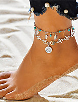 cheap -Turquoise Layered 3D Anklet Ankle Bracelet - Leaf Dangling Style, Tassel, Bohemian Silver For Gift Holiday Women's