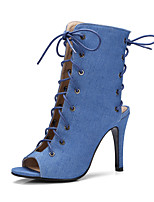 cheap -Women's Shoes Microfiber Spring &  Fall Fashion Boots Boots Stiletto Heel Peep Toe Booties / Ankle Boots Bowknot Yellow / Blue / Almond / Party & Evening