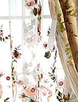 cheap -Sheer Curtains Shades Bedroom Floral / Geometric Polyester Embroidery
