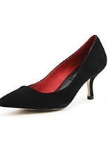 Недорогие -Жен. Мэри Джейн Замша Лето Обувь на каблуках На шпильке Черный / Миндальный