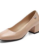 Недорогие -Жен. Комфортная обувь Наппа Leather Весна Обувь на каблуках На толстом каблуке Черный / Бежевый / Коричневый