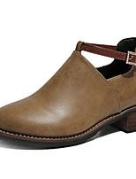 Недорогие -Жен. Fashion Boots Полиуретан Осень На каждый день Ботинки На толстом каблуке Круглый носок Ботинки Черный / Хаки