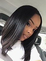 cheap -Remy Human Hair Lace Front Wig Brazilian Hair Straight Wig Bob Haircut / Short Bob 130% Middle Part Bob / Natural Hairline Black Women's Short Human Hair Lace Wig