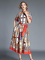 Недорогие -Жен. Винтаж / Изысканный А-силуэт Платье - Геометрический принт, Шнуровка Средней длины