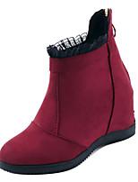 Недорогие -Жен. Fashion Boots Замша Осень Минимализм Ботинки На плоской подошве Круглый носок Ботинки Черный / Красный