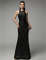 cheap -Sheath / Column Jewel Neck Floor Length Sequined Open Back Formal Evening Dress with Sequin by TS Couture®