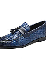 cheap -Men's Formal Shoes Faux Leather Fall & Winter Casual / Chinoiserie Loafers & Slip-Ons Non-slipping Color Block Black / Red / Blue / Tassel / Party & Evening