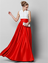 cheap -A-Line High Neck Floor Length Lace / Satin Color Block Formal Evening Dress with Pleats by