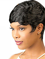 cheap -Synthetic Wig Wavy Short Bob Synthetic Hair 6 inch Women / With Bangs Black Wig Women's Short Capless / Yes