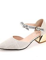 Недорогие -Жен. Балетки D'Orsay Полиуретан Осень Обувь на каблуках На низком каблуке Заостренный носок Черный / Бежевый