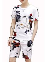 cheap -Men's Sports Short Sleeve Activewear Set - Floral Round Neck