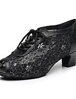 economico -Per donna Scarpe per balli latini Raso Stringate / Tacchi Tacco spesso Scarpe da ballo Oro / Nero / Rosso