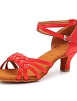 baratos -Mulheres Sapatos de Dança Latina Cetim Sandália / Salto Presilha Salto Cubano Personalizável Sapatos de Dança Vermelho