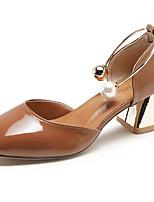 Недорогие -Жен. Балетки Полиуретан Лето Милая Обувь на каблуках На толстом каблуке Квадратный носок Бежевый / Коричневый