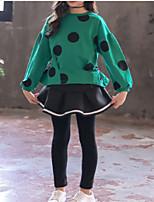 cheap -Kids Girls' Basic Polka Dot Print Long Sleeve Cotton Clothing Set