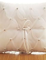 abordables -Tissu Denim Dentelle / Cristal / strass Satin Oreiller d'anneau Thème plage / Thème jardin / Thème papillon Toutes les Saisons