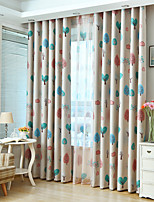 cheap -Blackout Curtains Drapes Bedroom Floral Polyester Blend Printed