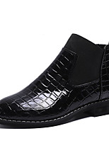 Недорогие -Жен. Fashion Boots Искусственная кожа / Полиуретан Осень Английский Ботинки На низком каблуке Круглый носок Ботинки Черный / Хаки