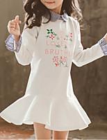 Недорогие -Дети Девочки Классический Геометрический принт / Контрастных цветов Длинный рукав Платье