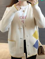cheap -women's going out long sleeve cardigan - geometric v neck
