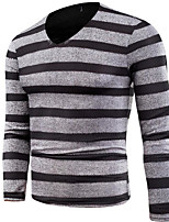 cheap -men's long sleeve pullover - striped v neck