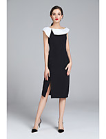 cheap -ZIYI Women's Work Slim Tunic Dress Black & White